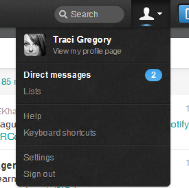 Direct Messages is in the Drop Down for your Profile