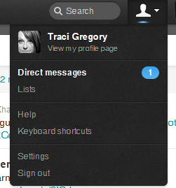 Twitter Direct Message on the Drop Down Under Profile